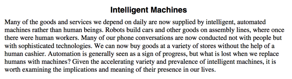 intelligent-machines act essay