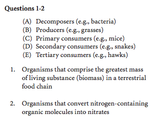 SAT Bio Sample question A