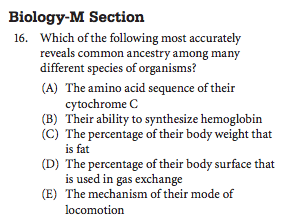 SAT Bio Sample question Molecular