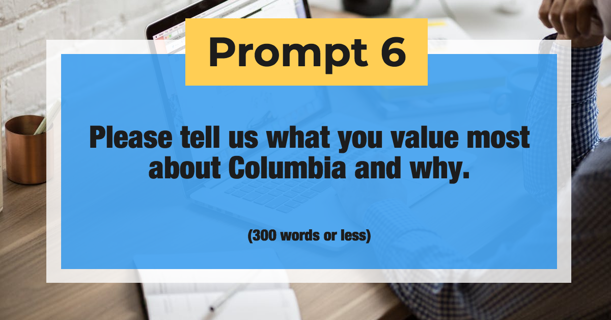 Prompt 6: Please tell us what you value most about Columbia and why. (300 words or less)