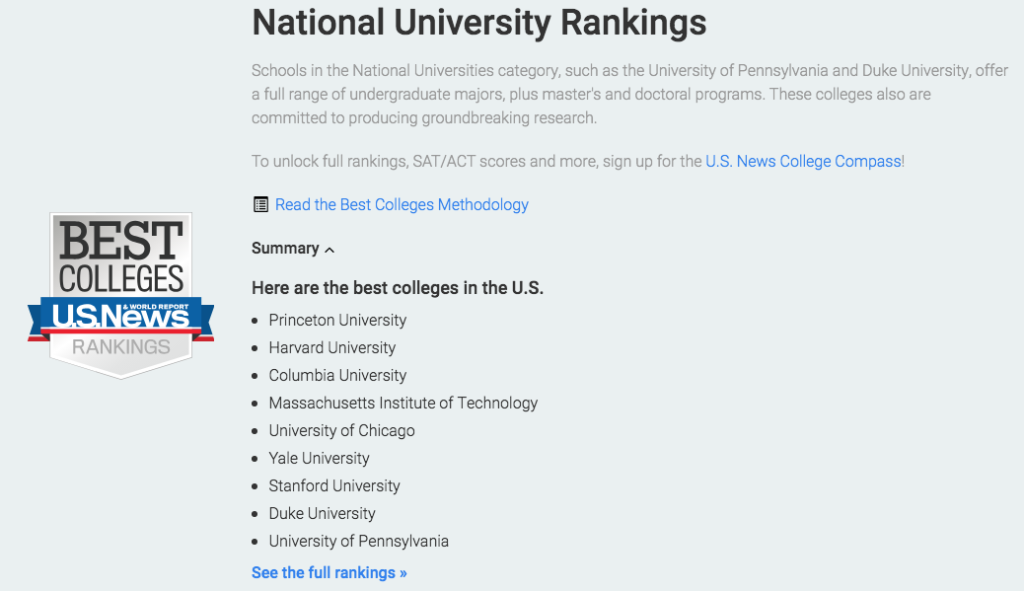 US News Ranking Best Colleges