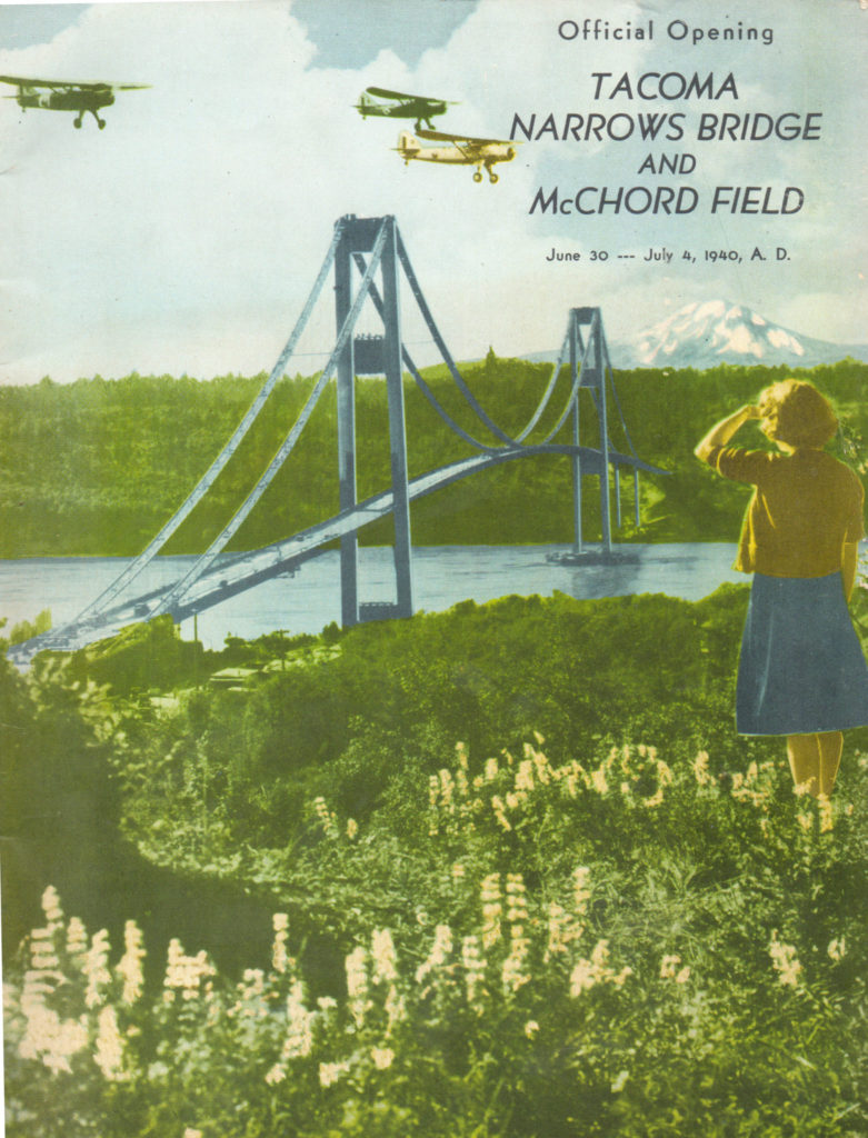 Tacoma Narrows Bridge - McChord Field Celebration Committee, Norton Clapp, General Chairman; Prepared by Shannon Brothers; Published by Johnson-Cox Company, Tacoma, WA - Uploader's collection